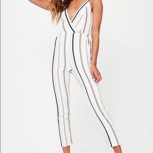 White Striped Missguided Jumpsuit